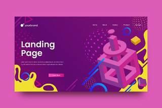 紫色登陆界面插画背景AI网页UI界面平面设计素材Abstract Background