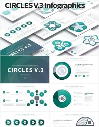11套色系圆圈并列圆形PPT可视化素材CIRCLES V.3 - PowerPoint Infographics
