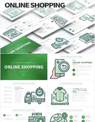 11套色系线上购物创意图形插画PPT电商素材Online Shopping - PowerPoint Infographics