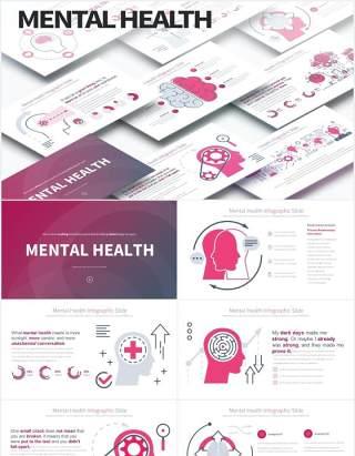 11套色系心理健康精神压力创意大脑医疗医学PPT素材MENTAL HEALTH - PowerPoint Infographics