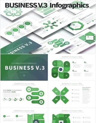 11套色系商业模式信息图表PPT素材BUSINESS V.3 - PowerPoint Infographics