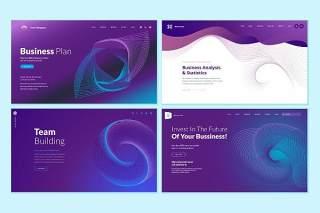 紫色渐变抽象概念网页设计UI界面矢量背景插画网站模板集Set of Web Page Design Templates