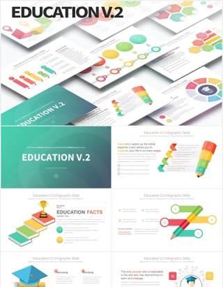 12套颜色创意图形铅笔教育信息图表数据可视化PPT素材Education V.2 - PowerPoint Infographics Slides