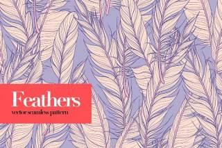 羽毛矢量无缝图案AI矢量设计背景素材Feathers Vector Seamless Patterns
