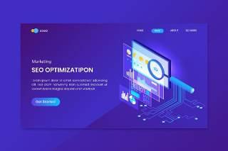 蓝色搜索引擎优化等轴测概念登录页网站插画矢量素材设计SEO Optimization Isometric Concept Landing Page