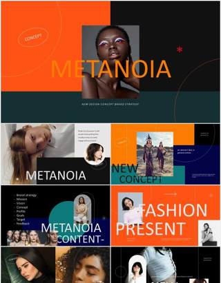 时尚时装电子画册宣传PPTmetanoia lookbook fashion powerpoint templates