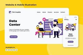 数据中心web和移动界面设计AI插画素材PSD模板Data Center web and mobile designs