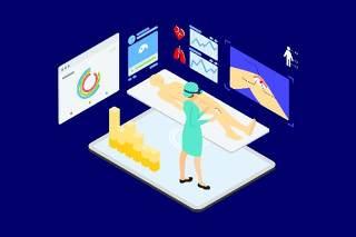医疗医学医院医生人体人物AR和VR虚拟现实场景2.5D插画AI矢量设计素材10