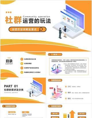 黄色互联网企业社群运营的玩法运营方法详解及要点PPT模版