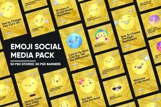50个黄色时尚流行表情符号社交媒体内容营销PSD分层素材包Emoji Social Media Pack