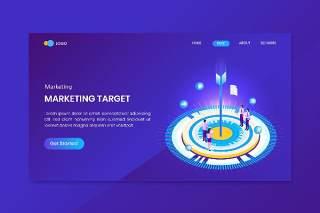 蓝色目标市场目标等轴测概念登录页插画素材设计网站矢量界面Target Market Goals Isometric Concept Landing Page