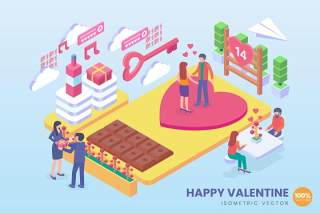情人节快乐情侣约会2.5D等距AI矢量插画素材isometric happy valentine vector concept