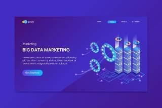 蓝色大数据等距概念登陆页面UI网站界面设计矢量插画素材Big Data Isometric Concept Landing Page