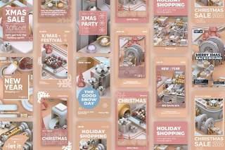 31款3D模型工厂风格圣诞节故事新年快乐PSD设计素材Christmas Stories