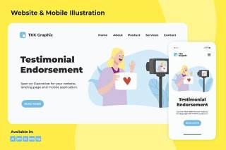 推荐自己手机WEB界面插画矢量素材Testimonial endorsement web and mobile