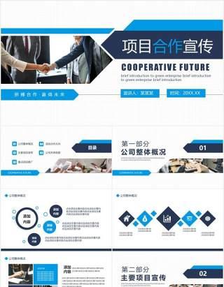 商务风公司商业项目合作企业宣传介绍动态PPT模板