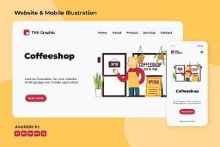 咖啡师欢迎客户的网页和手机设计插画矢量素材Barista welcoming customer web and mobile design