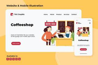 咖啡厅商务网站和手机移动端界面插画设计矢量素材Coffeeshop business web and mobile design