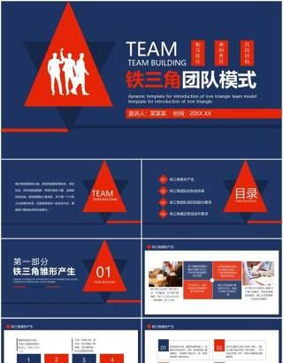 蓝色公司市场部销售铁三角团队模式运行培训课件PPT模板