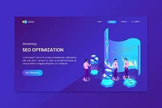蓝色现代平面设计3D插图分析SEO营销等距概念登陆页面矢量素材UI界面Analysis Seo Marketing Isometric Concept Landing Page