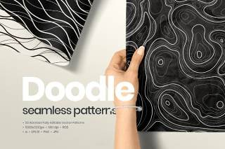 50个抽象涂鸦无缝图案背景AI矢量素材50 Abstract Doodle Seamless Patterns