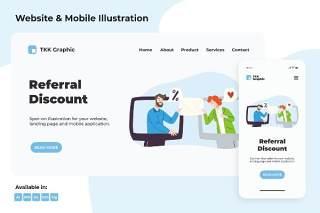 介绍信推荐涂鸦网页和移动APP界面设计矢量插画素材Referral discount doodle web and mobile designs