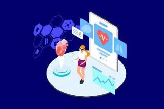 医疗医学医院医生人体人物AR和VR虚拟现实场景2.5D插画AI矢量设计素材14