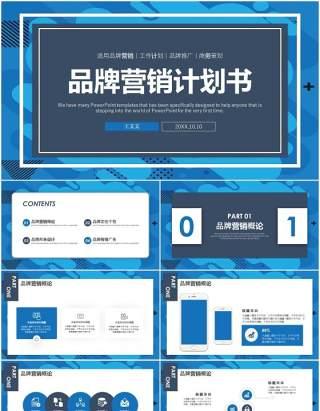 蓝色商务品牌营销计划书工作报告PPT模板