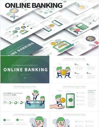 11套色系网上银行线上金融理财创意人物插画PPT素材Online Banking - PowerPoint Infographics