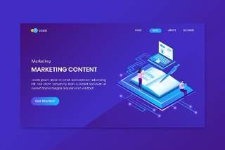 蓝色营销创建者等轴测概念登录页网站插画矢量素材设计Marketing Creator Isometric Concept Landing Page