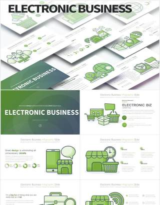 11套色系电子商务创意图形PPT素材Electronic Business-PowerPoint Infographics Slides