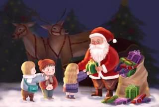 手绘插画圣诞节圣诞老人圣诞树雪人主题活动PSD设计素材13
