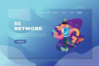 5g网络psd和ai矢量登陆页面UI界面插画设计5g network psd and ai vector landing page