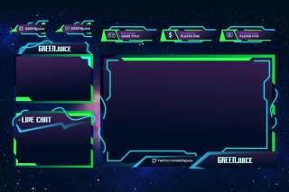 绿色果汁抽搐覆盖UI界面PSD设计模板green juice twitch overlay template