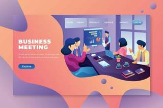 商务会议psd和ai vector登录页UI界面插画设计business meeting psd and ai vector landing page