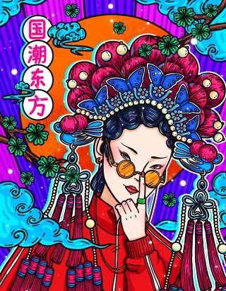 中国风卡通国潮京剧戏曲国粹花旦人物形象PSD插画海报设计素材20