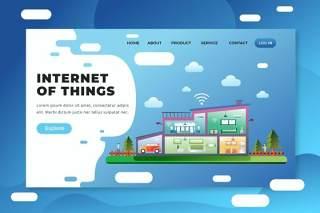 物联网psd和ai矢量登陆页面UI界面插画设计internet of things psd and ai vector landing page