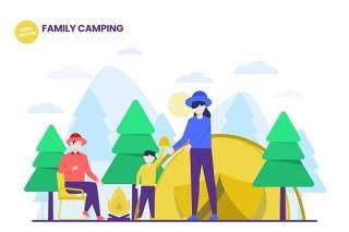 家庭露营平面矢量图AI人物插画设计素材Family Camping Flat Vector Illustration