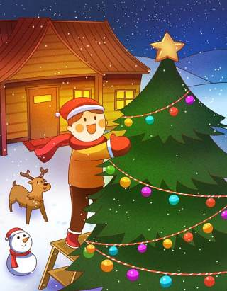 手绘插画圣诞节圣诞老人圣诞树雪人主题活动PSD设计素材38