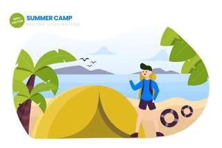 夏令营平面矢量图AI人物插画设计素材Summer Camp Flat Vector Illustration
