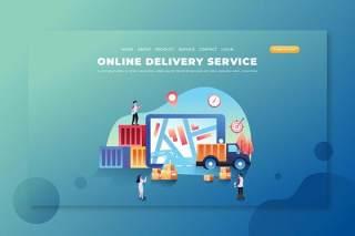 在线交付服务psd和ai登录页UI界面插画设计online delivery service psd and ai landing page