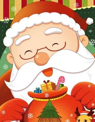 手绘插画圣诞节圣诞老人圣诞树雪人主题活动PSD设计素材30