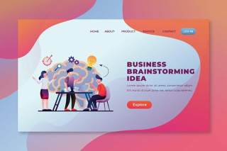 商业头脑风暴psd和ai登录页UI界面插画设计business brainstorming psd and ai landing page