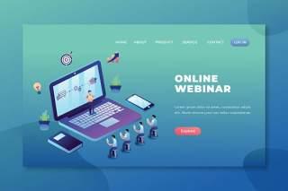 在线网络研讨会psd和ai矢量登陆页面UI界面插画设计online webinar psd and ai vector landing page
