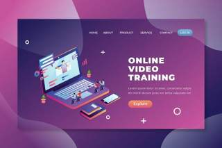 在线视频培训psd和ai登录页UI界面插画设计online video training psd and ai landing page