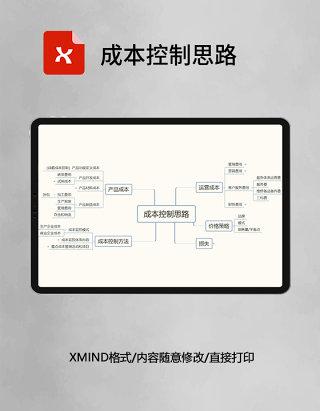 成本控制思路思维导图XMind模板