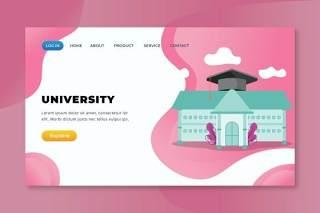 大学xd psd ai矢量登录页UI界面插画设计university xd psd ai vector landing page
