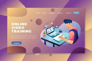 在线视频培训psd和ai登录页UI界面插画素材设计online video training psd and ai landing page