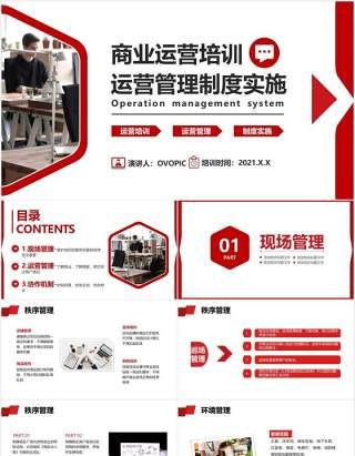 红色商务企业员工商业运营培训公司管理制度实施通用PPT模板