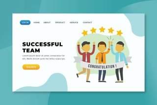 成功团队psd xd ai矢量登陆页面UI界面插画设计successful team psd xd ai vector landing page